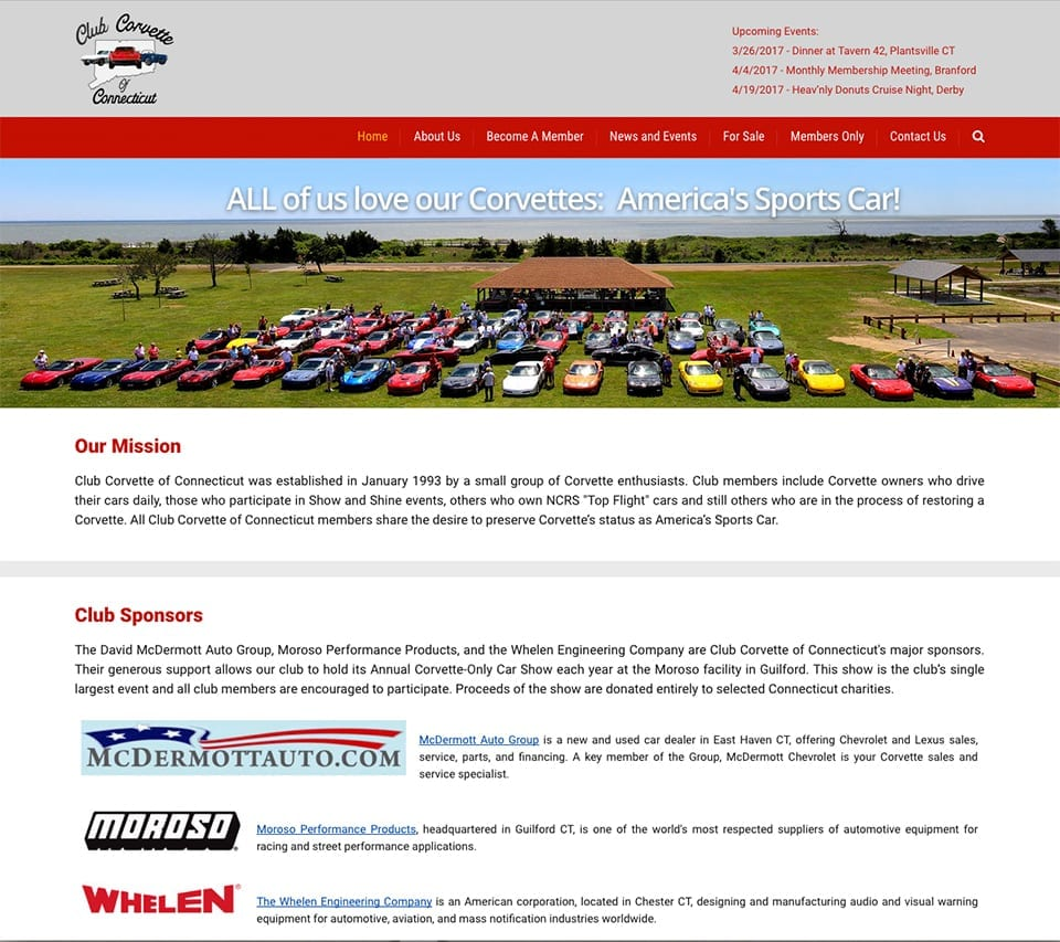 Club Corvette of Connecticut homepage